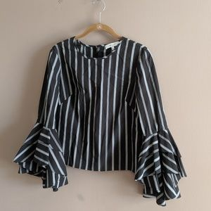 Milly Sz 2 Gabby Stripe Bell Sleeve Blouse Cotton